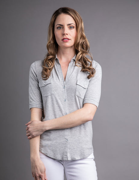 Majestic Short Sleeve Button-Down Shirt in Heather Grey