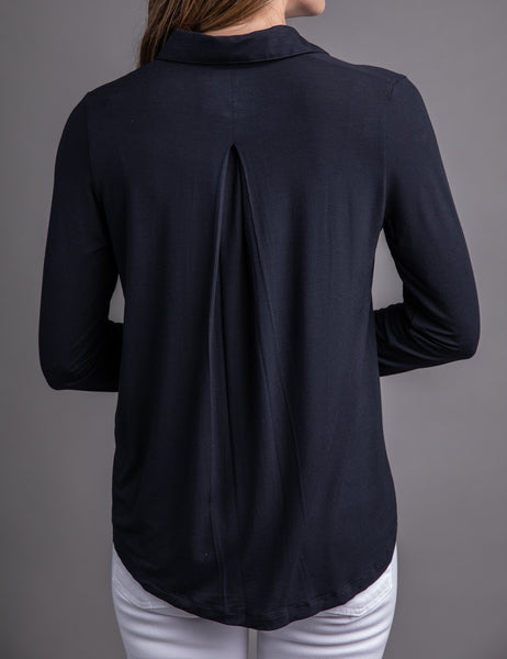 Majestic Long Sleeve Relaxed Button-Down Shirt in Navy