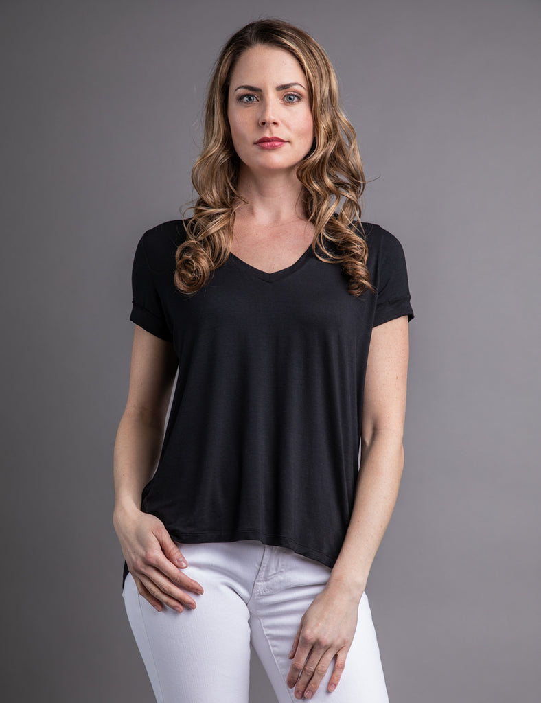 9adc7b3ec Majestic Short Sleeve V-neck Relaxed Tee in Black