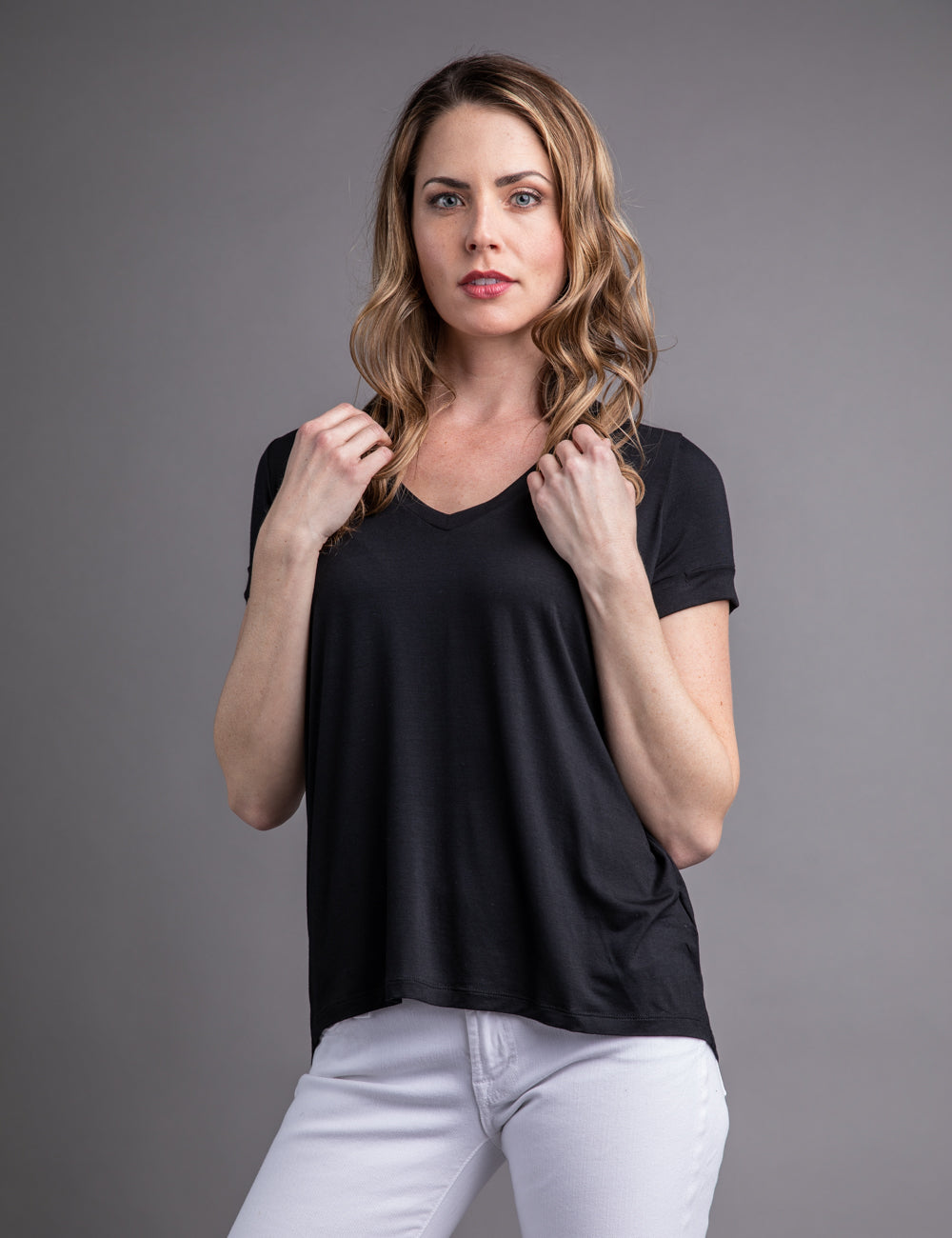 Majestic Short Sleeve V-neck Relaxed Tee in Black