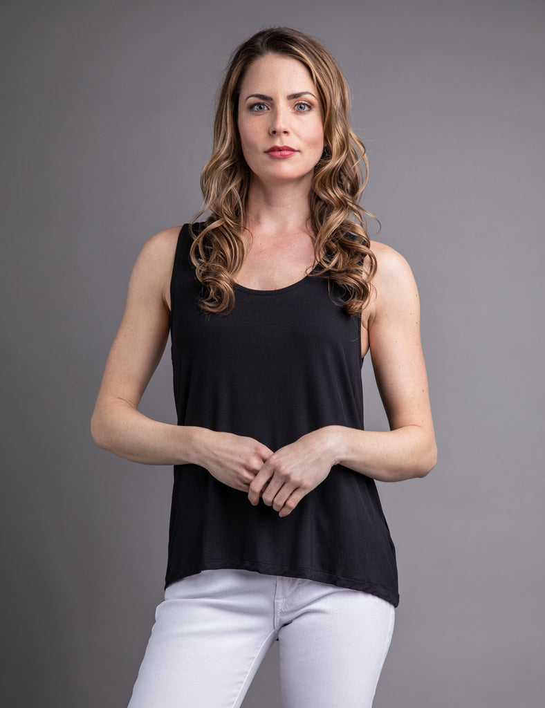 a2d8cc63323dd Majestic Scoop Neck Relaxed Tank in Black