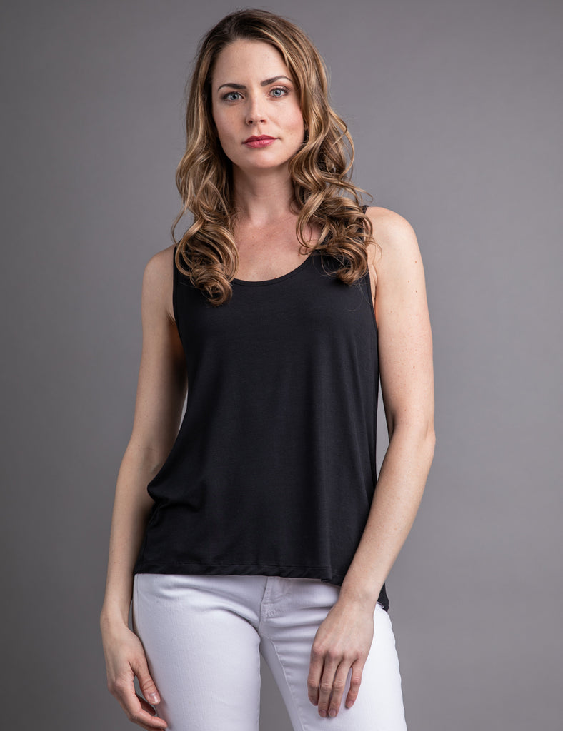 Majestic Scoop Neck Relaxed Tank in Black