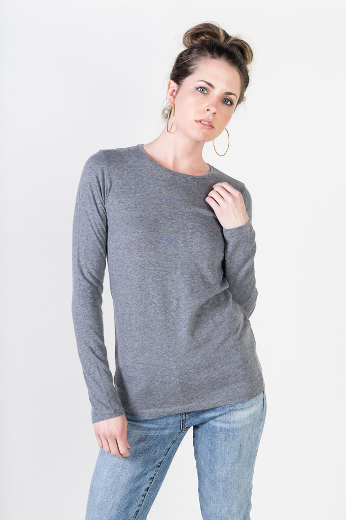 Majestic Long Sleeve Cotton/Cashmere Tee in Heather Grey