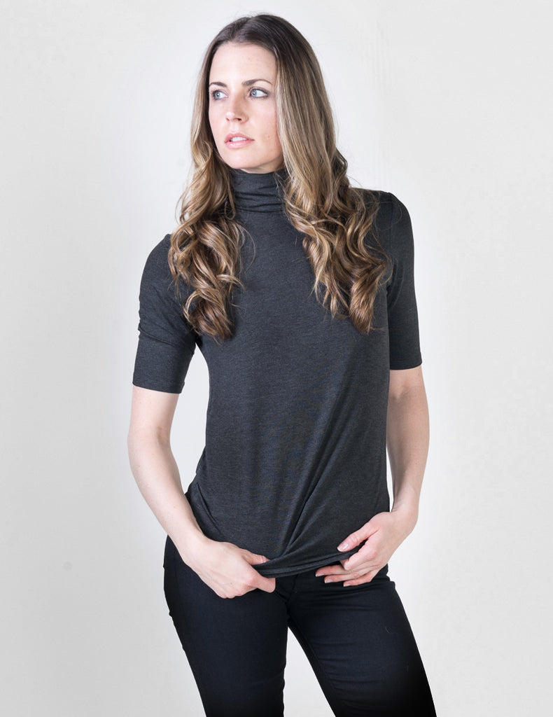 Majestic Elbow Sleeve Turtleneck in Anthracite