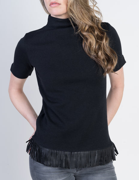 Majestic Short Sleeve Turtleneck with Leather Fringe in Black