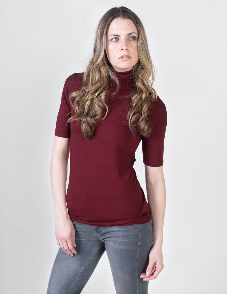 Majestic Elbow Sleeve Turtleneck in Bordeaux