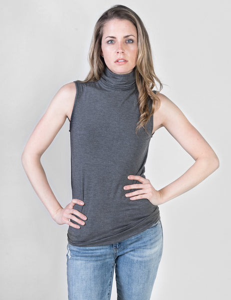 17eace160fe67f Majestic sleeveless turtleneck in flanelle grey clothes majestic jpg  463x600 Grey sleeveless turtleneck