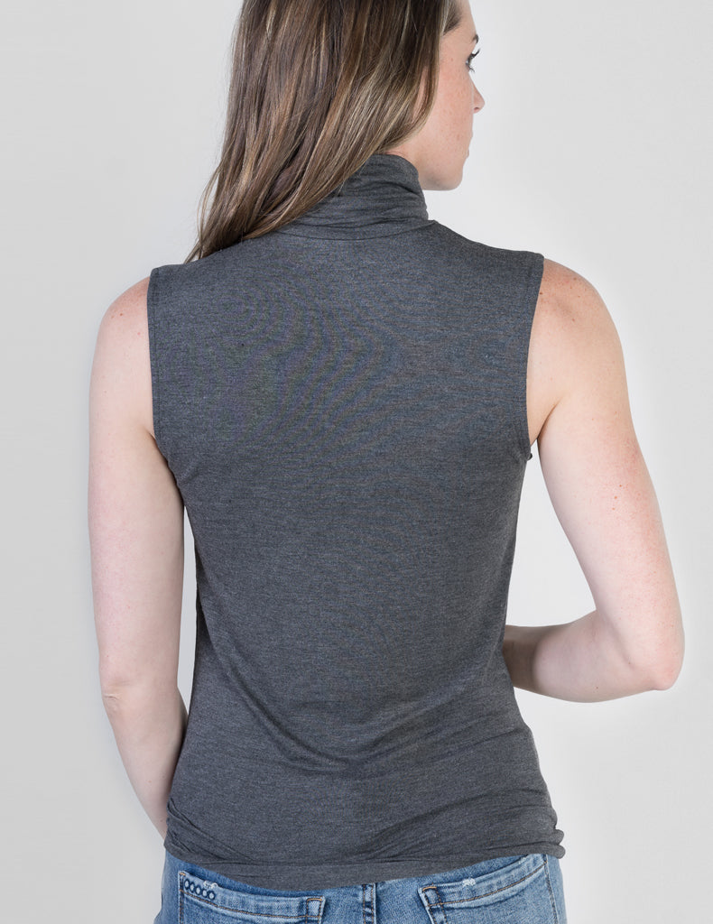 Majestic Sleeveless Turtleneck in Flanelle Grey