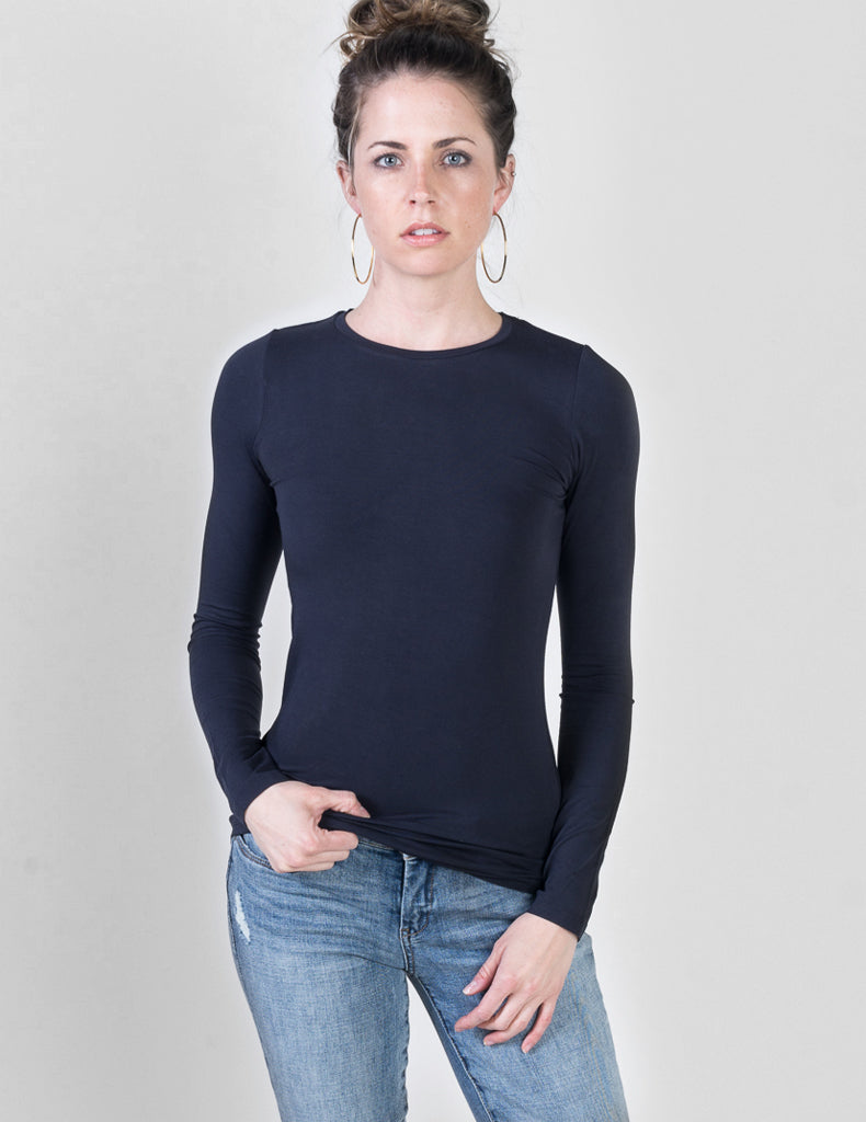 Majestic Long Sleeve Viscose Crewneck in Navy