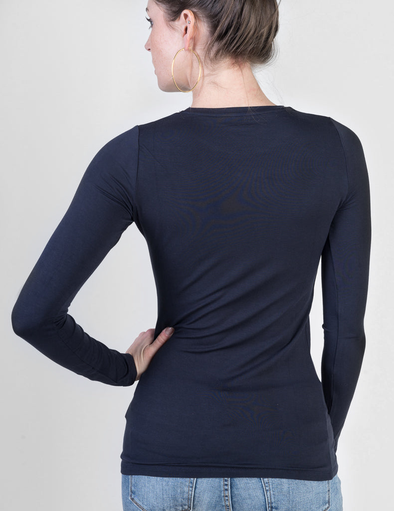 Majestic Long Sleeve Viscose Crewneck in Marine