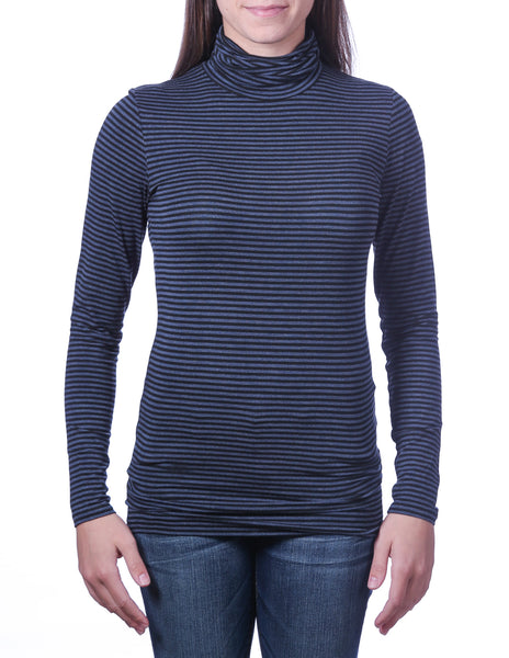 Majestic Viscose Striped Turtleneck in Black/Denim