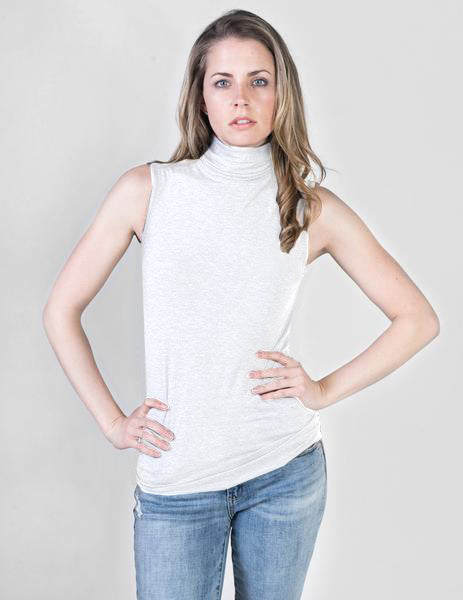 Majestic Sleeveless Turtleneck in White