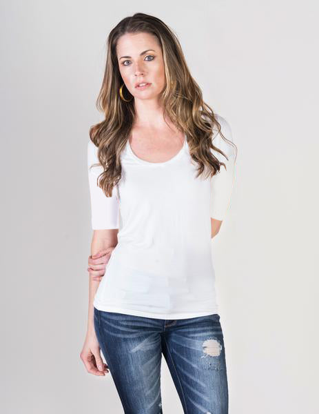 Majestic Elbow Sleeve Scoop Neck Tee in White