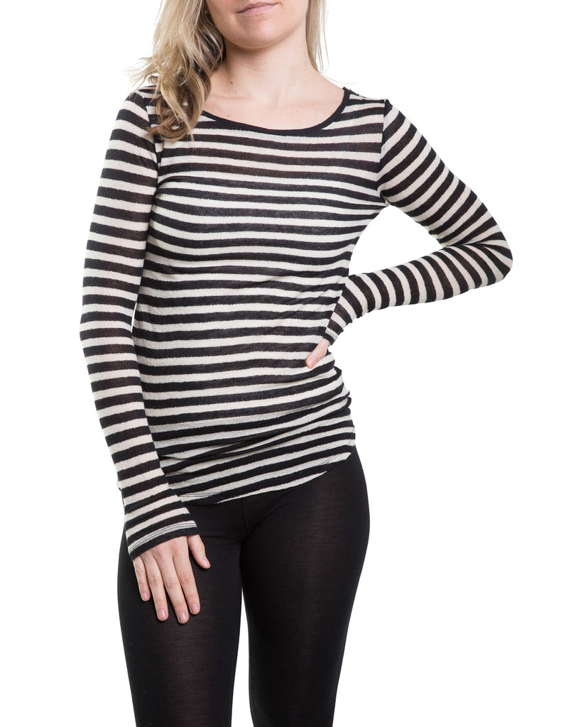 Majestic Cotton/Cashmere Long Sleeve Boatneck in Black/Beige Stripe