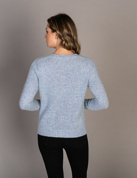 Majestic Long Sleeve Cashmere Speckle Knit Sweater in Ciel Chine
