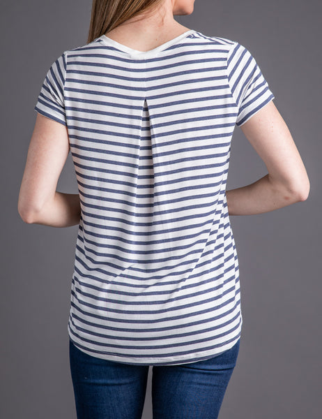 Majestic Short Sleeve Stripe V-Neck