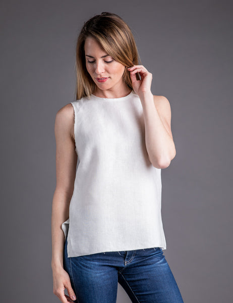 Majestic Linen Sleeveless Crewneck with Zipper Back