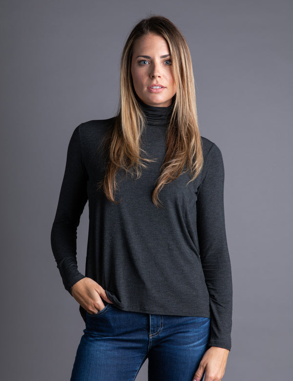 Majestic Long Sleeve Relaxed Turtleneck in Anthracite