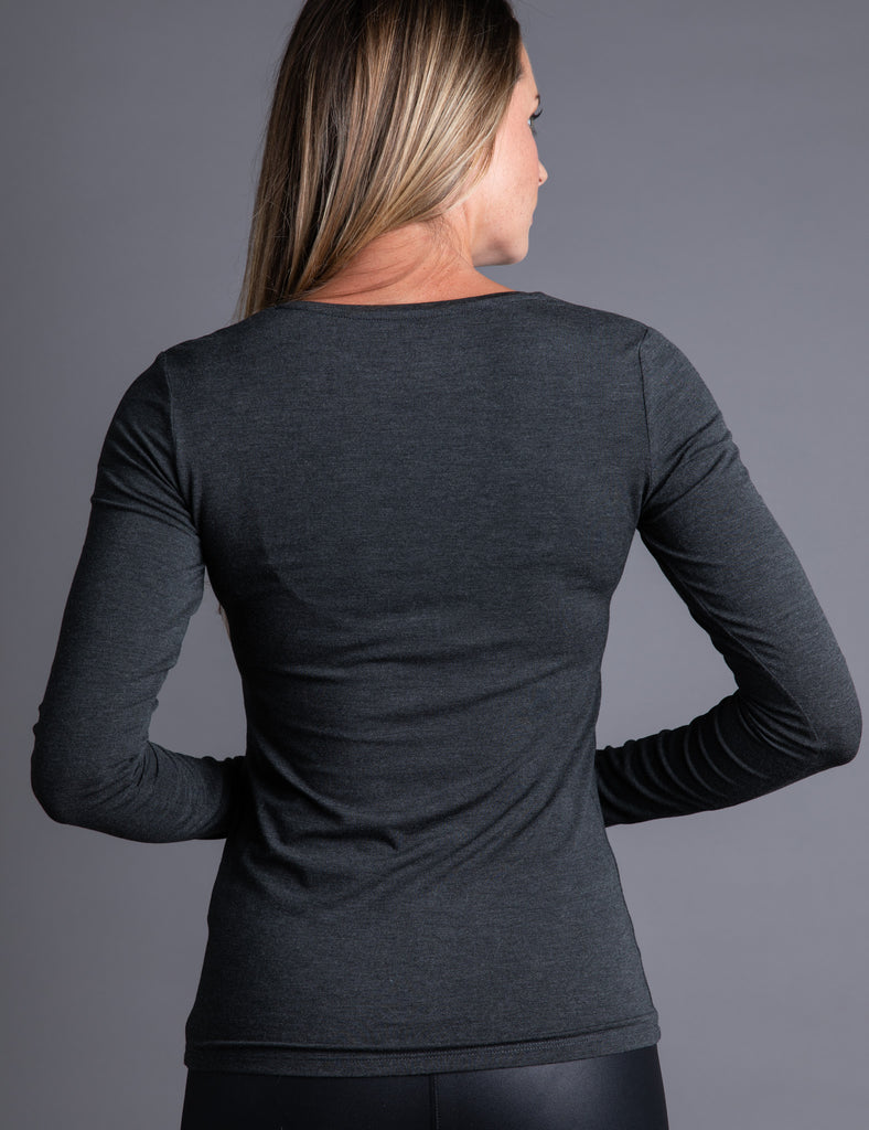 Majestic Long Sleeve Viscose V-Neck Tee in Anthracite