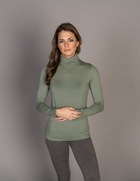 Majestic Long Sleeve Viscose Turtleneck in New Army