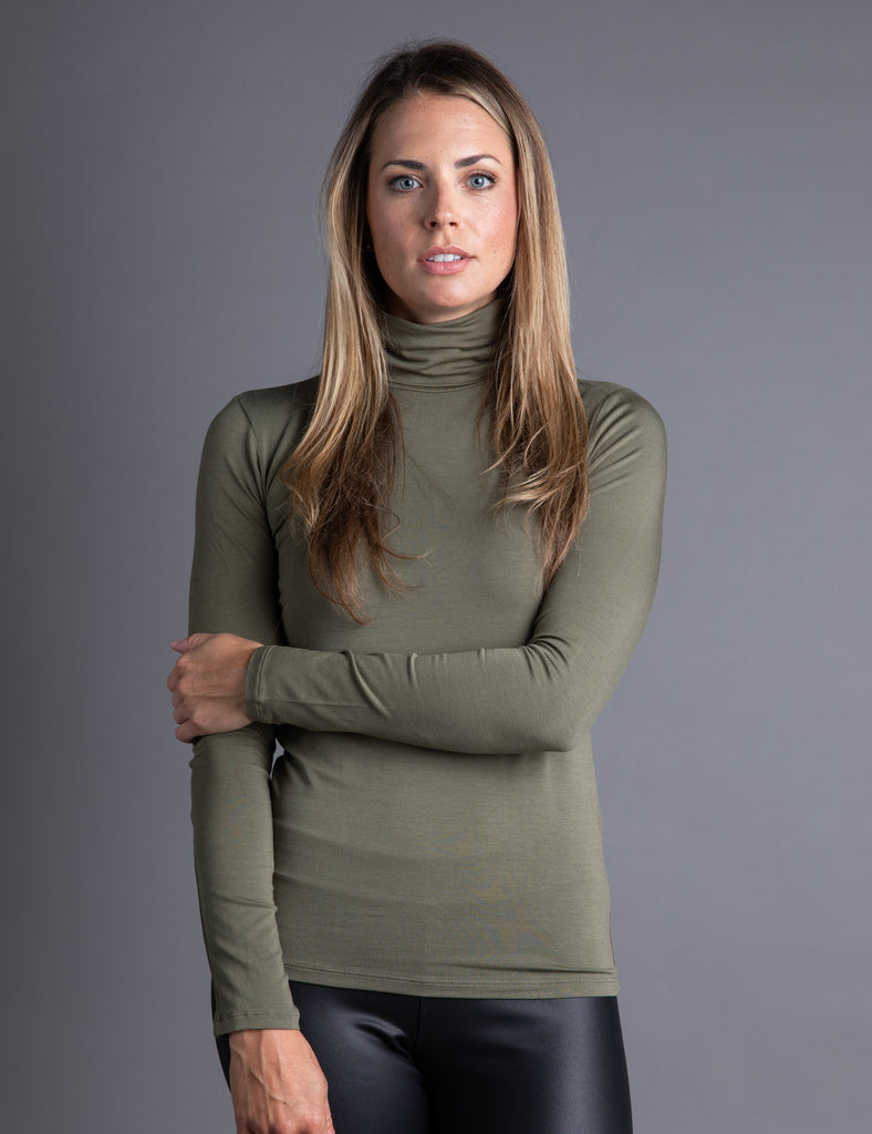 Majestic Long Sleeve Viscose Turtleneck in Army