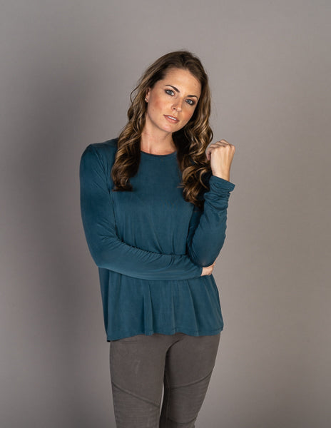 Majestic Long Sleeve Cupro Swing Crew in Atlantic Blue
