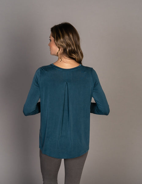 Majestic Long Sleeve Cupro Relaxed Crew in Atlantic Blue