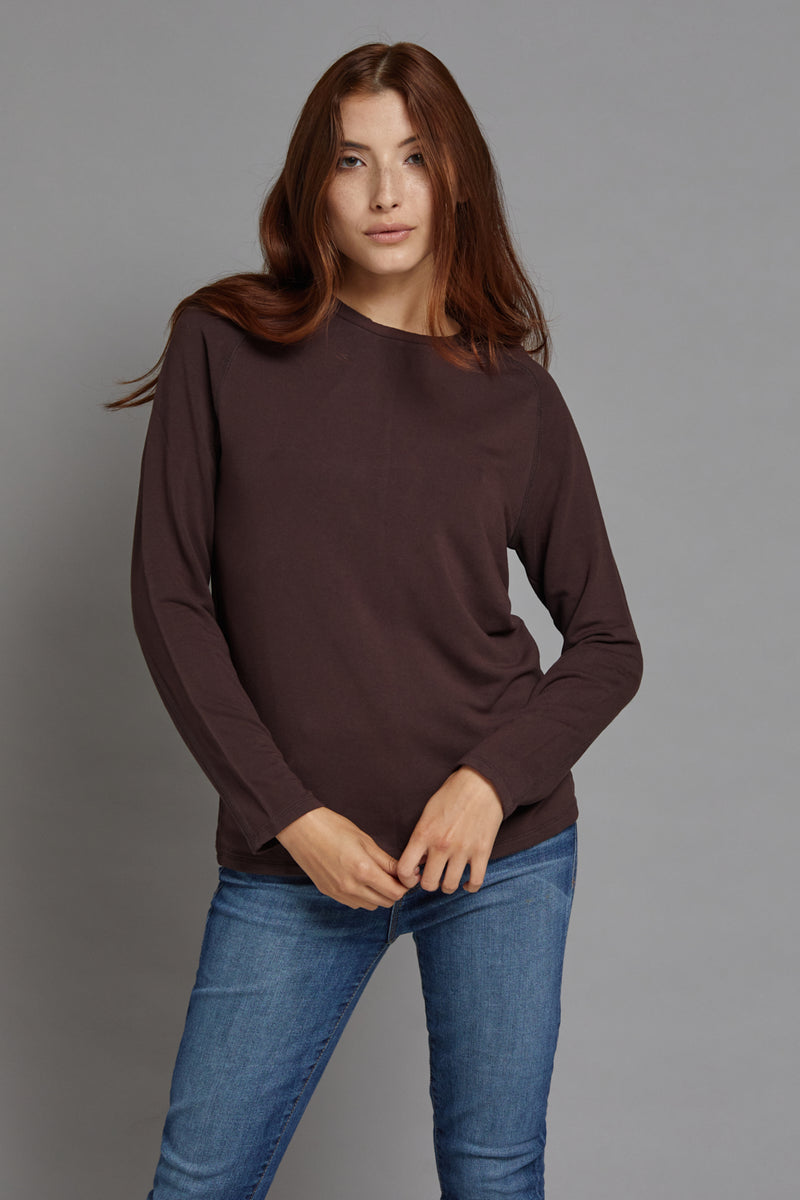 Majestic Long Sleeve Luxe Raglan Crewneck in Chocolate