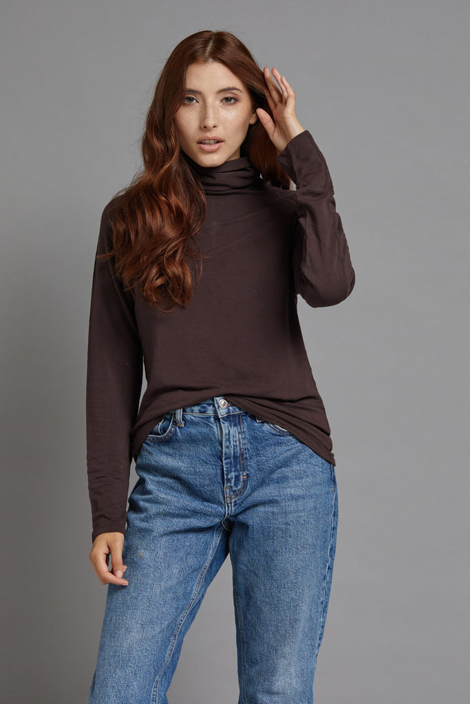 Majestic Long Sleeve Luxe Raglan Turtleneck in Chocolate