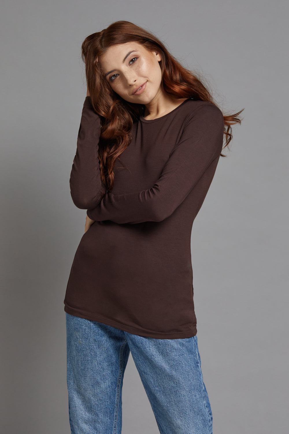 Majestic Long Sleeve Viscose Crewneck in Coffee