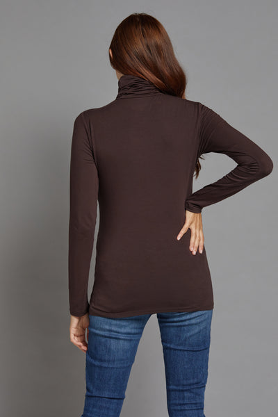 Majestic Long Sleeve Viscose Turtleneck in Coffee