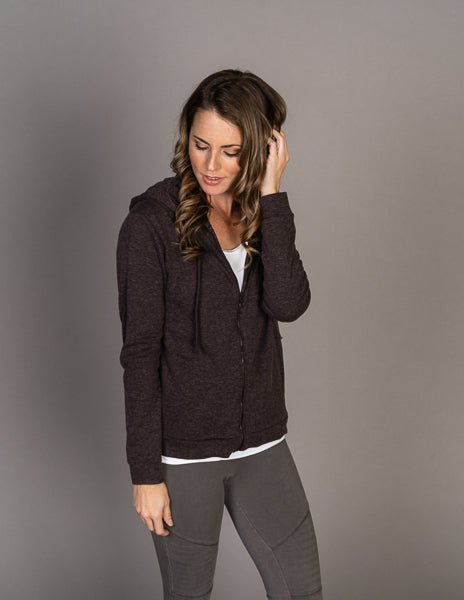 Majestic Long Sleeve Cotton/Cashmere Zip-Up Hoodie