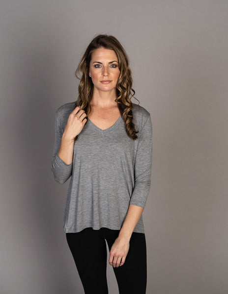 Majestic Long Sleeve Drop Shoulder V-Neck