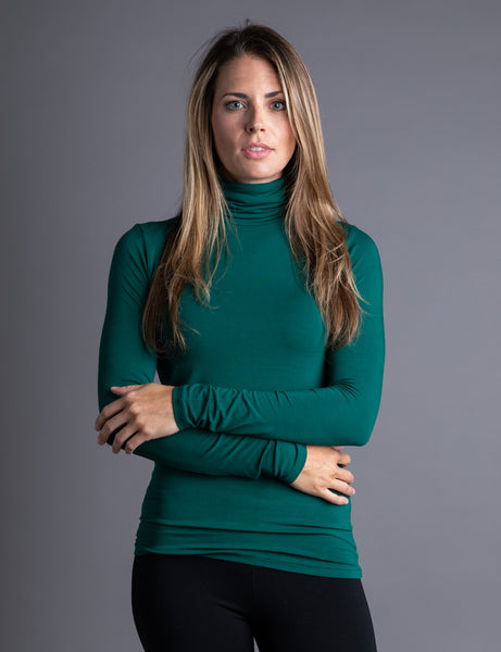 Majestic Long Sleeve Viscose Turtleneck in Forest