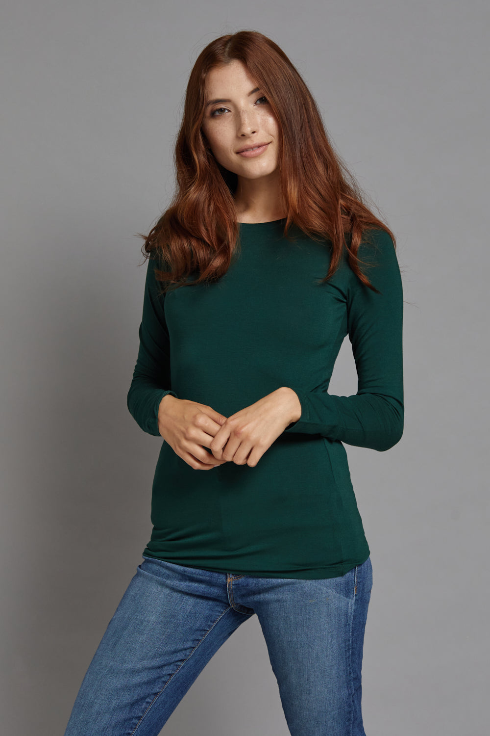 Majestic Long Sleeve Viscose Crewneck in Scarabe
