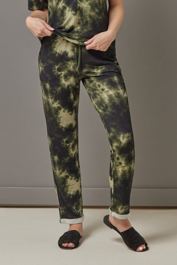 Majestic French Terry Tie Dye Jogger in Kaki