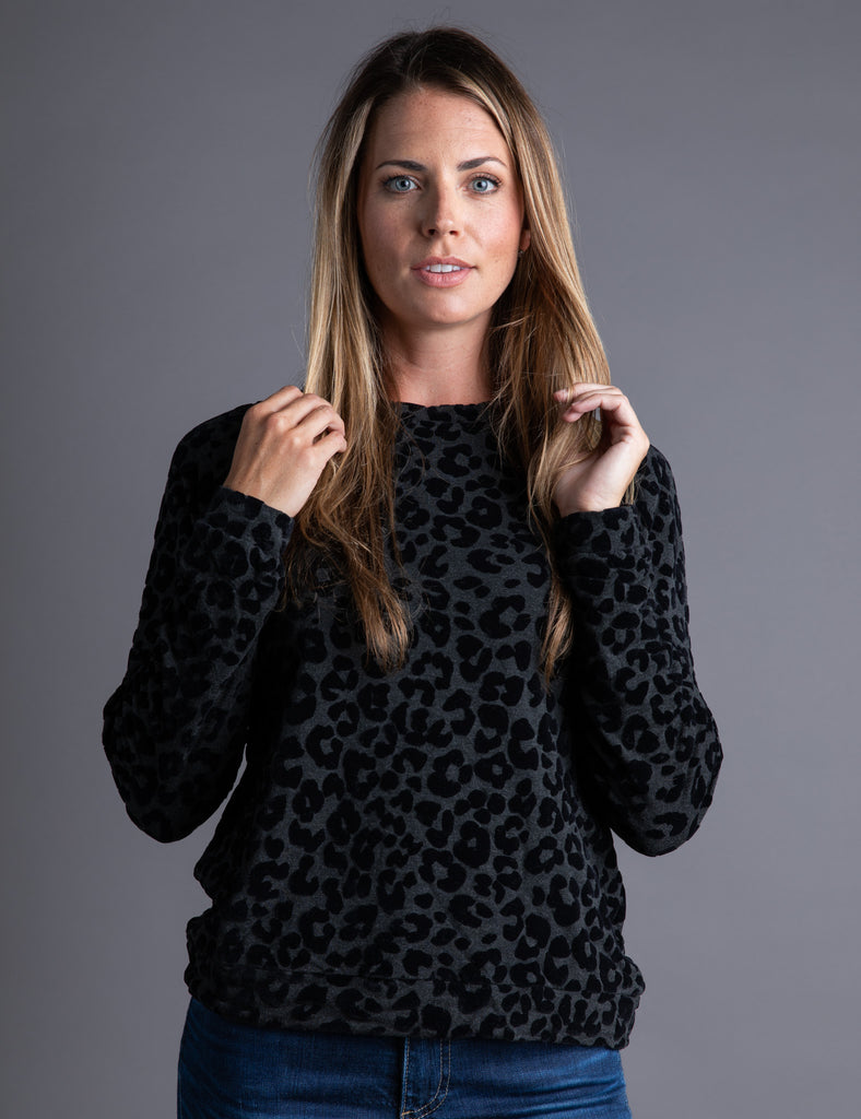 Majestic French Terry Leopard Print Pullover