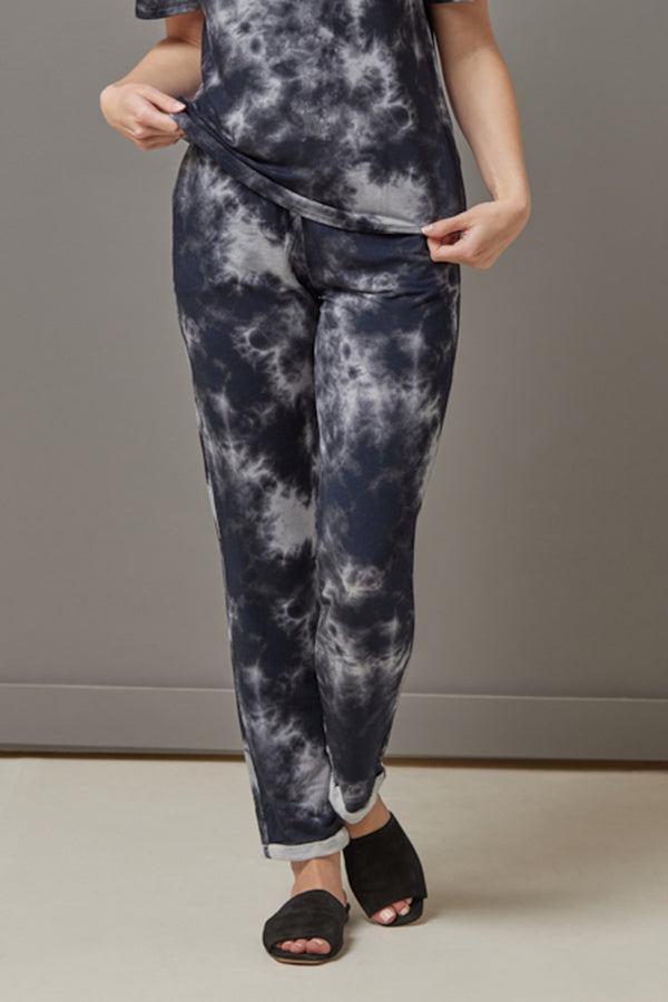 Majestic French Terry Tie Dye Jogger in Marine