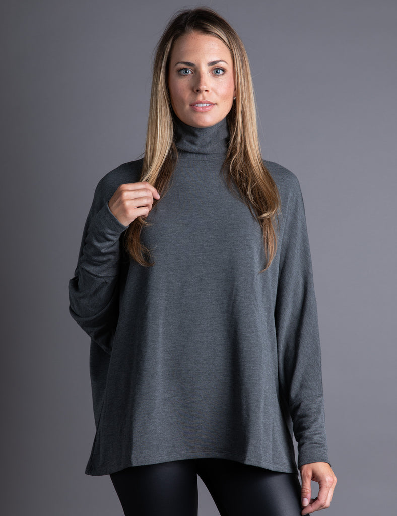 Majestic Long Sleeve French Terry Mock Neck in Flanelle