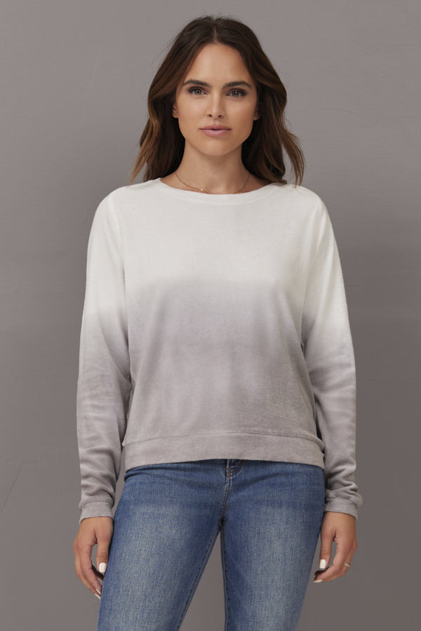 Majestic Long Sleeve Ombre Pullover in Graphite