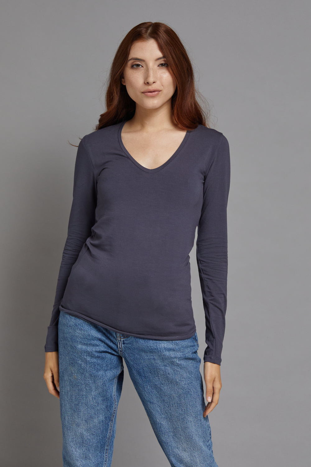Majestic Long Sleeve Viscose V-Neck Tee in Ombra