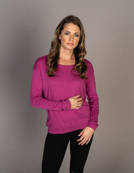 Majestic Long Sleeve Cotton Cashmere Boxy Crew Pullover