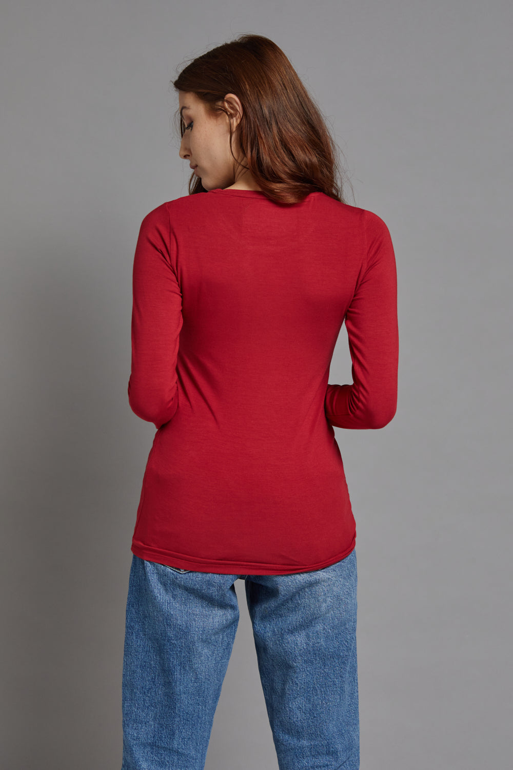 Majestic Long Sleeve Viscose Crewneck in Rubis