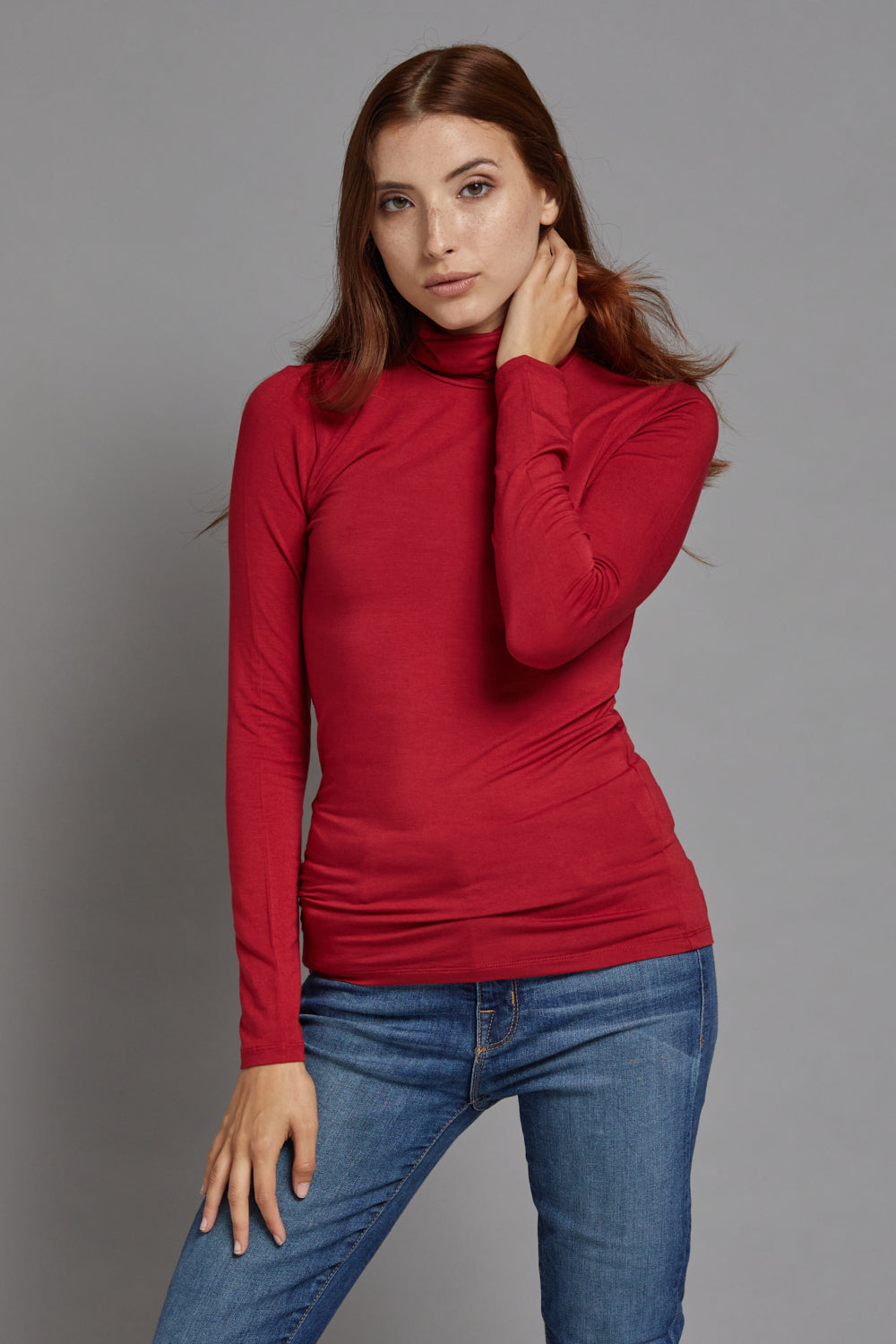 Majestic Long Sleeve Viscose Turtleneck in Rubis