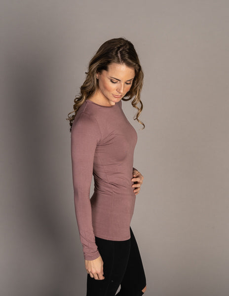 Majestic Long Sleeve Soft Touch Crewneck in Bruyere