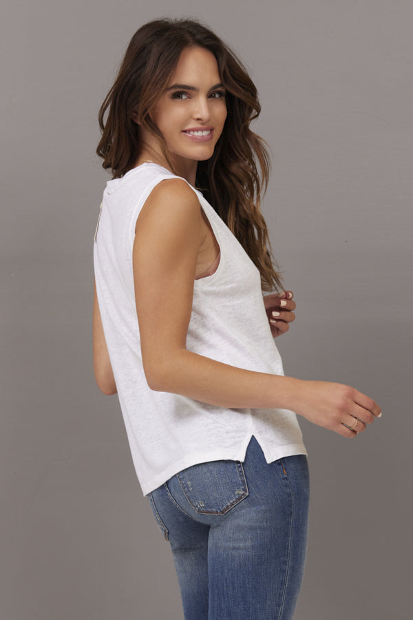 Majestic Semi Relaxed Linen Tank in Blanc