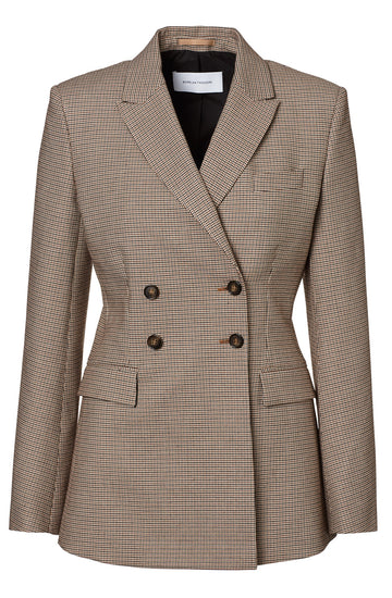 Double' Breasted Jacket is a slim fitted, tailored jacket with shoulder pads, patch pockets' double breasted front, color Tan Houndstooth