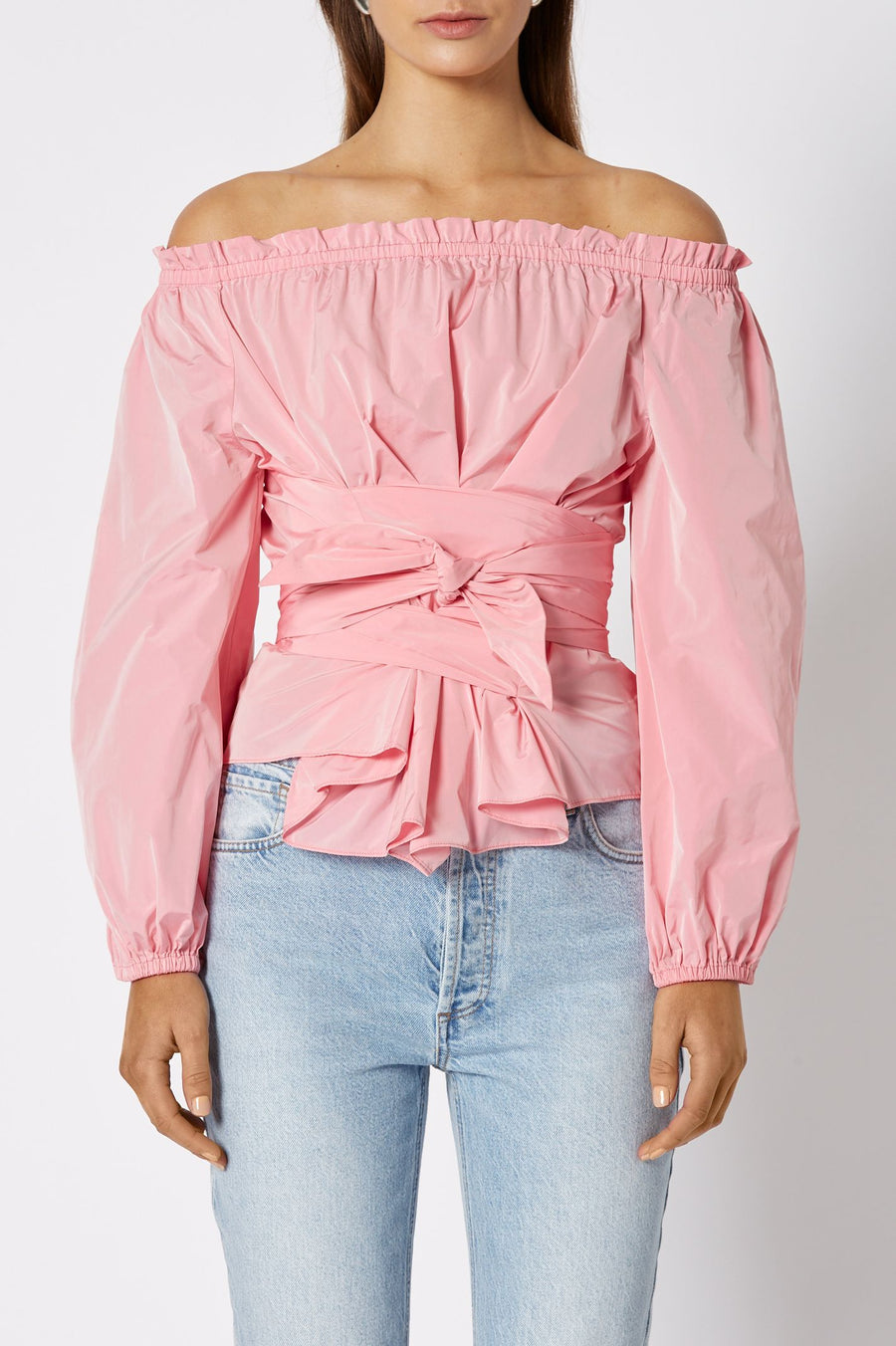 Taffeta Wrap Blouse Pale Pink, Loose Fit, Puffed Long Sleeves, Waist Belt, Off the Shoulder Neckline