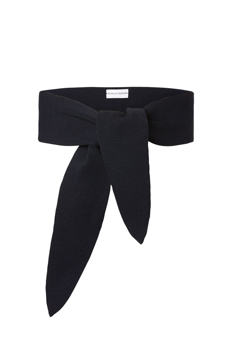 CREPE KNIT BELT, wraps around waist, navy color