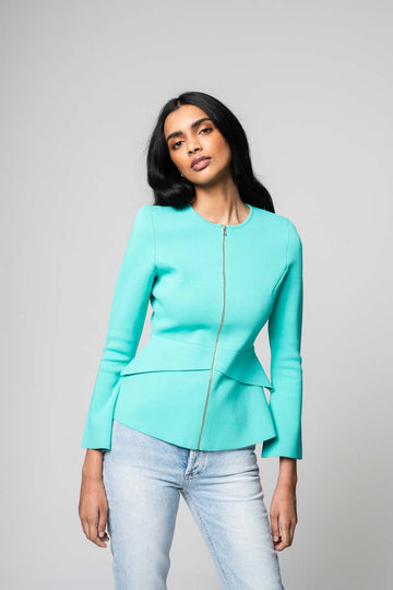Crepe Knit Tailored Peplum Jacket Mint, zip at the front, slim fit
